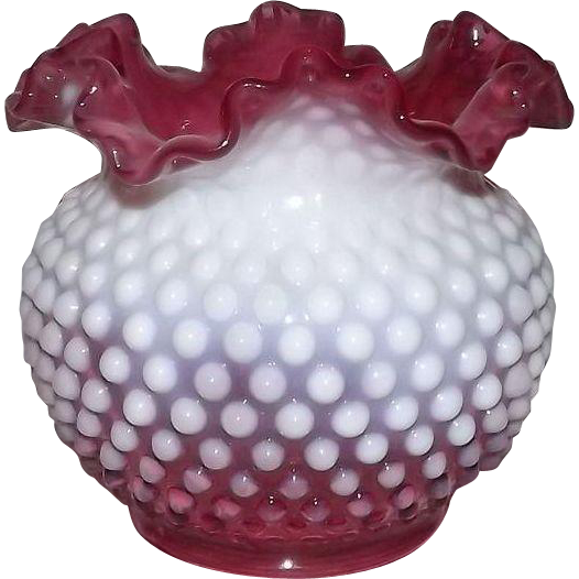 Large Fenton Cranberry Opalescent Hobnail Rose Bowl