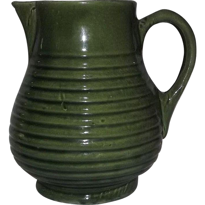Bulbous Ring Bodied Green Unmarked Pottery Pitcher