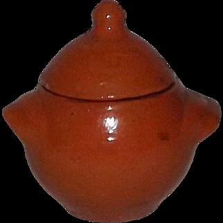 "Orange Glazed ""Jugtown Ware"" Lug Handled Covered Sugar Bowl"