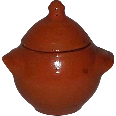 "Orange Glazed ""Jugtown Ware"" Lug Handled Covered Sugar Bowl"