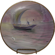 Gorgeous Full Pallette Hand Painted River Scene Noritake Plate