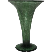 Unmarked OLive Green Art Glass Vase With Ground Pontil