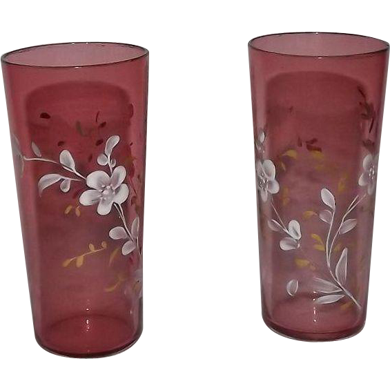Pair Of Cranberry Glass Hand Enameled Tumblers