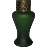 Green Satin Glass Vase With Cut Out Metal Collar