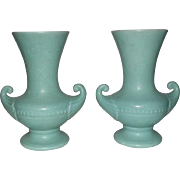 Pair Of Light Green Mottled Glaze Rumrill Vases