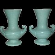 Pair Of Light Green Mottled Glaze Rumrill Vases