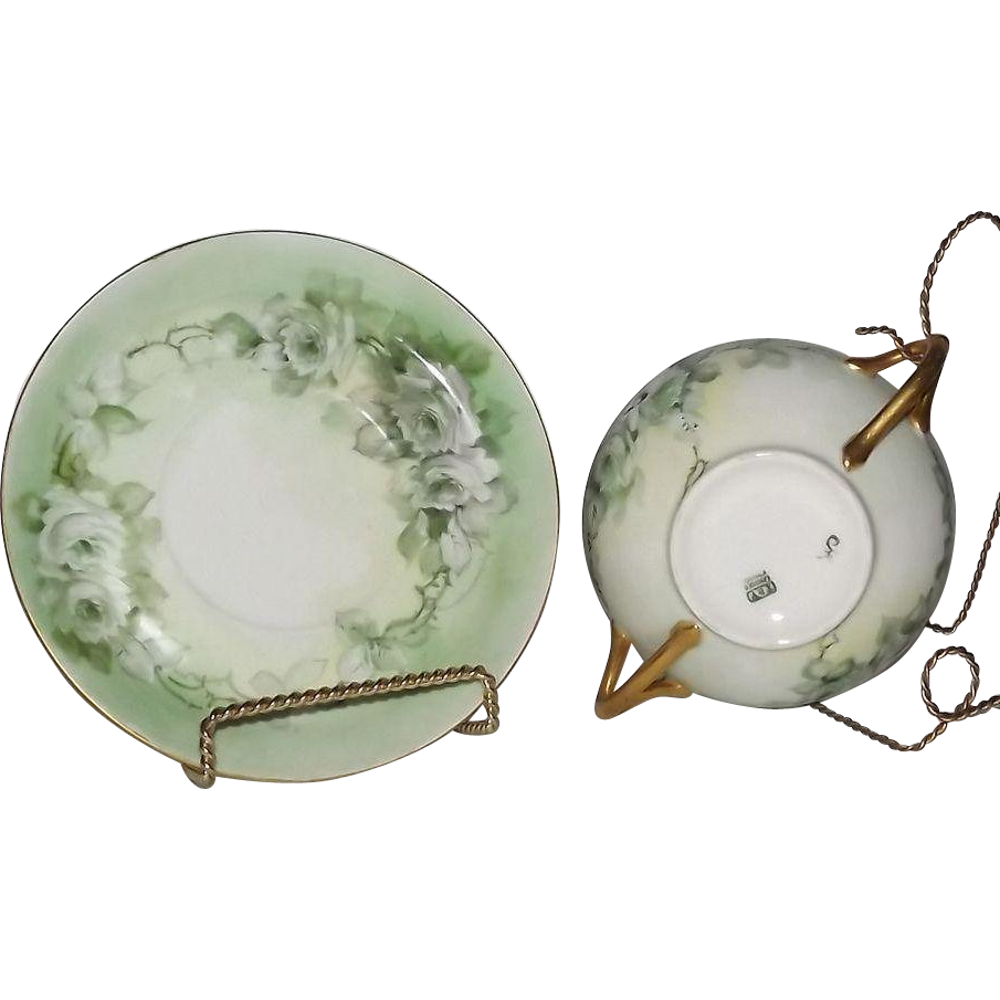 Artist Initialed Hand Painted Bullion Cup And Underplate On Tressemanes & Vogt Blanks