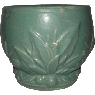 Unmarked McCoy Pottery Leaf And Berry Decorated Jardiniere