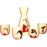 Geisha Girl Decorated Sake Set