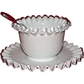 Fenton Silver Crest Mayo Bowl And Underplate With Original Ladle
