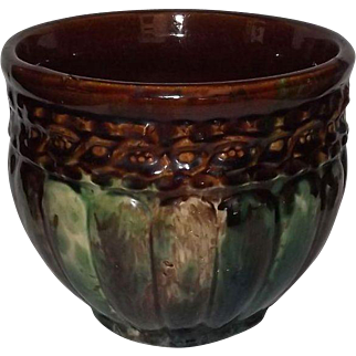 Unmarked Mottled Glaze Jardiniere With Ribbed Body