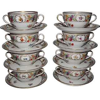 Set Of Eight Dresden Bavaria Bullion Cups And Saucers