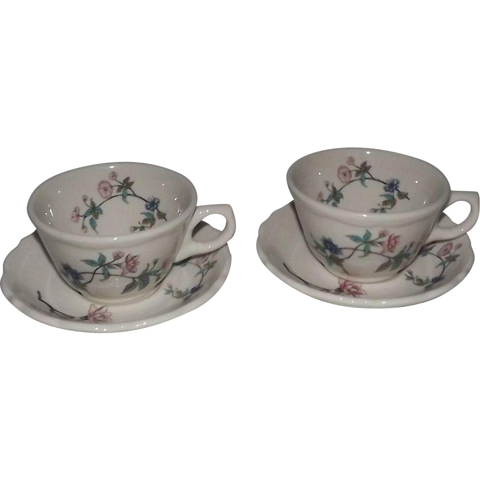"""Pair Of Syracuse China """"Summerdale"""" Cups And Saucers"""