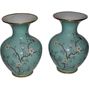 "Pair Of ""Cherry Blossom"" Pattern Vases From Hertel Jacob Porcelain"