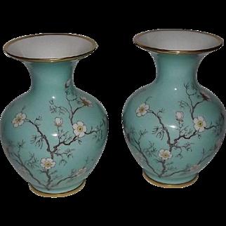 """Pair Of """"Cherry Blossom"""" Pattern Vases From Hertel Jacob Porcelain"""