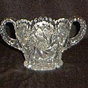 "Imperial Glass ""Nu Cut"" Two Handled Open Sugar Bowl"