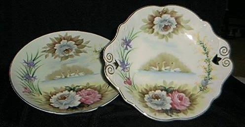 Hand Painted Swan Plate/ Bolted Compote Set