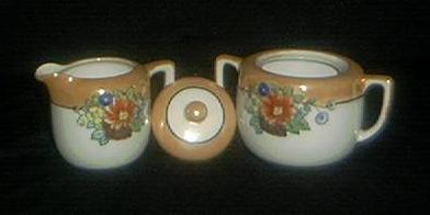 Pretty Lusterware Covered Sugar And Creamer
