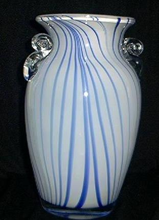 Blue and White Striped Art Glass Vase
