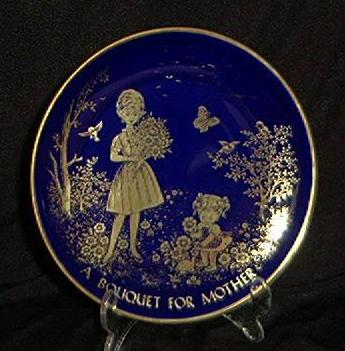 Mother's Day 1974 Plate Cobalt Blue And Gold