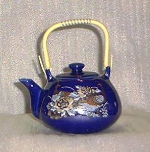 Cobalt Blue Teapot with Wrapped Bail Handle