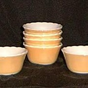Six Fire-King Peach Luster Custard Cups