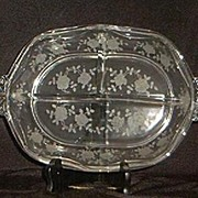 "Etched Fostoria ""Willowmere"" Three Part Relish Dish"