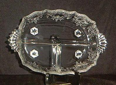 "Fostoria ""Meadow Rose"" Etched Three Part Relish Dish"