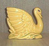 Pottery Swan With Cold Paint Decoration