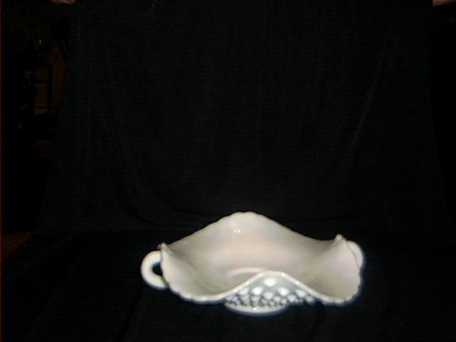 Fenton Two Handled Hob Nail, Milk Glass Candy Dish