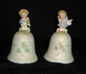 Pair Of Figural Handled Homco Bells