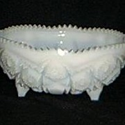 McKee Milk Glass Press Cut Bowl.
