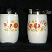 Floral Milk Glass Creamer And Sugar Shaker