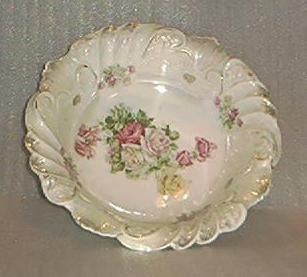 Rose Decorated Porcelain Bavarian Bowl