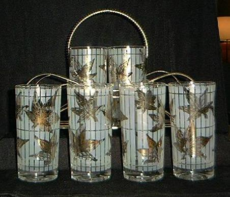 Set Of Eight Golden Foliage Highball Glasses With Carrier