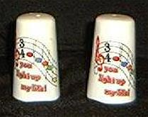 Pair Of Salt And Pepper Shakers With Music Notes