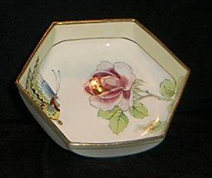 Lovely Nippon Butterfly And Rose Dish
