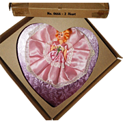 Beautiful Valentine's Day Pink Heart Candy Box with Pretty Doll 1950's