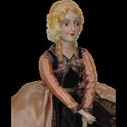 "Authentic Vintage Boudoir Bed Doll ""Anita"" Type Composition Head Mohair Wig Shoes -kk"