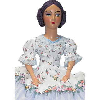 Vintage Boudoir Doll Standard Keeneye Composition Head Arms Shoe/Feet Cloth Body Dark Skin - kk