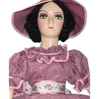 Vintage Boudoir Doll Standard Keeneye Composition Head Arms Shoe/Feet Cloth Body Mohair Evelyn -kk