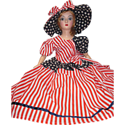 Holiday Boudoir Bed Doll July 4th Patriotic Sm Std compo head plastic limbs BRO-kk