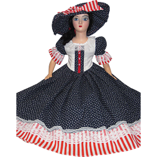 Holiday Boudoir Bed Doll July 4th Patriotic Sm Std compo head plastic limbs BLU-kk