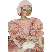 Authentic Vintage Boudoir Bed Doll French Blossom Rare Cloth Face RaeLynne - kk