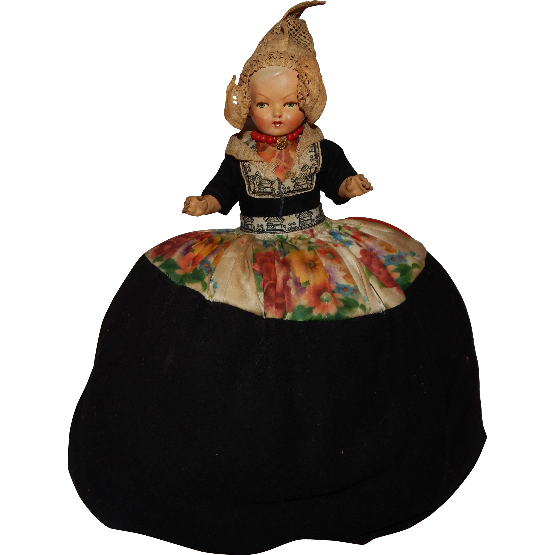 Wonderful Vintage Composition and Cloth Tea Cosy Cozy Doll