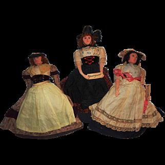 Lovely Vintage 1920's-30's Trio Tea Cozy Cosy German Cloth Dolls