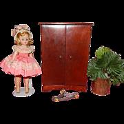 Vintage Hall's Doll Furniture Armoire Closet Cissette Madame Alexander   Little Miss Revlon 8 and 10 inch dolls