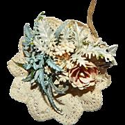 Vintage Bridal Bouquet Pink Blue Tussie-Mussie for Antique Bisque Fashion Doll
