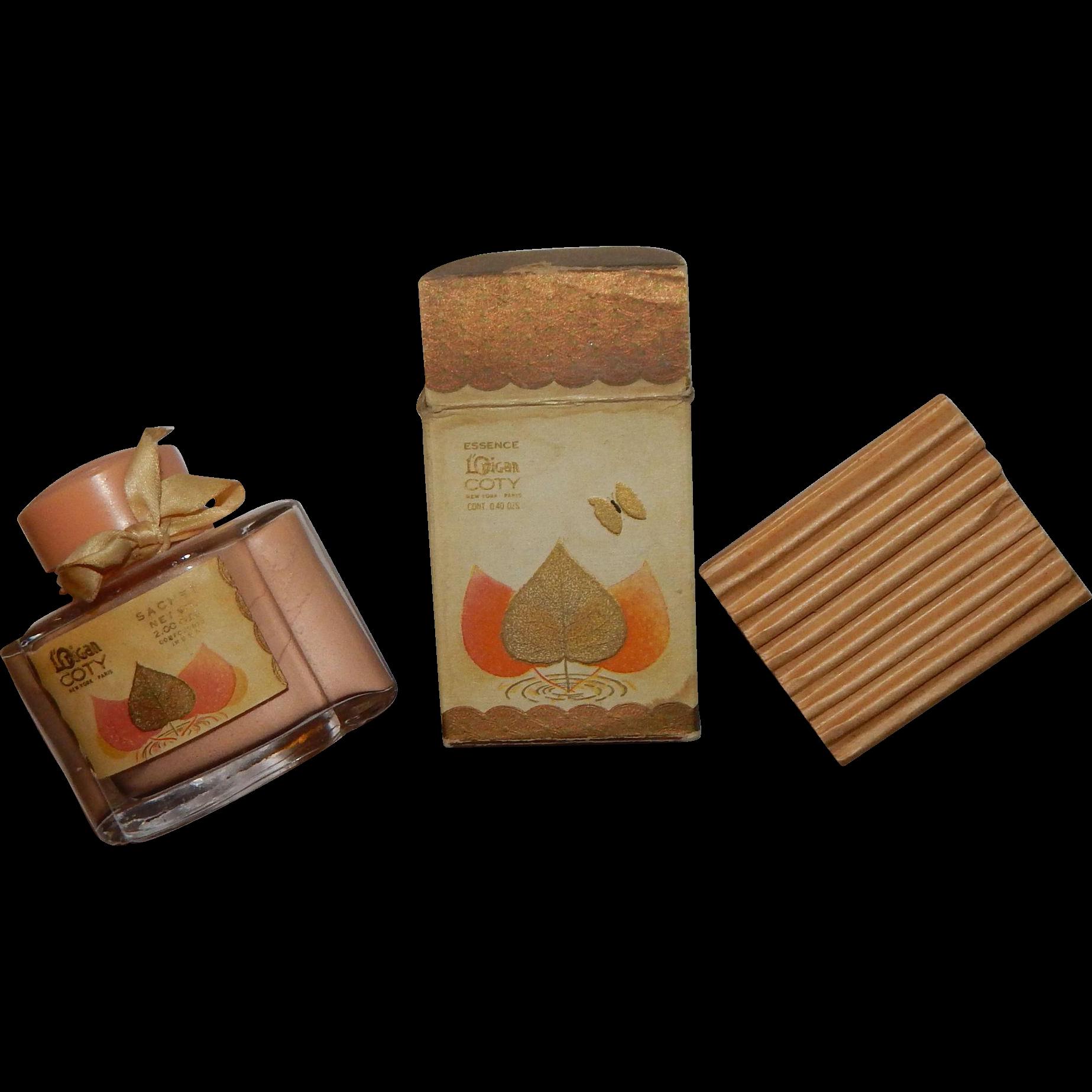 Vintage 1920 1930 L'Origan Coty Sachet Perfume Cologne Commercial Bottle Box