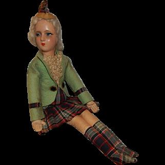 Lovely Vintage Cloth Composition International Scottish Irish Boudoir Doll